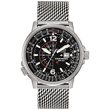 Buy Citizen BJ7008-51EBJ7008-51E Men's Nighthawk Mesh Bracelet Watch, Silver/Black Online at johnlewis.com