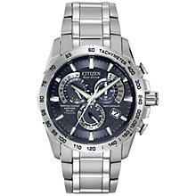 Buy Citizen AT4011-57L Men's Chronograph Titanium Bracelet Strap Watch, Silver/Blue Online at johnlewis.com