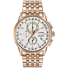 Buy Citizen AT8113-55A Men's World Chronograph Bracelet Strap Watch, Rose gold/White Online at johnlewis.com