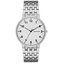 Buy Skagen SKW6200 Men's Ancher Bracelet Strap Watch, Silver Online at johnlewis.com