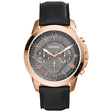 Buy Fossil FS5085 Men's Grant Black Leather Strap Watch, Black Online at johnlewis.com