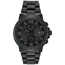 Buy Citizen CA0295-58E Men's Nighthawk Chronograph Stainless Steel Bracelet Strap Watch, Black Online at johnlewis.com