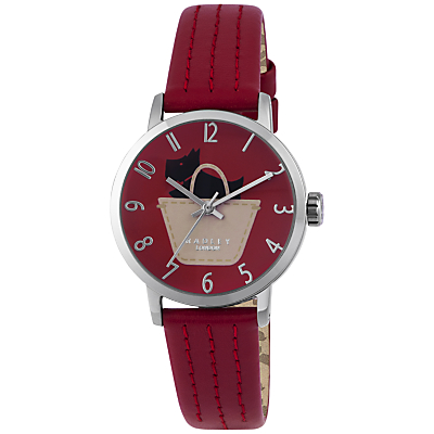 Radley RY2287 Border Women's Leather Strap Watch, Red