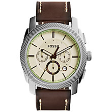 Buy Fossil FS5108 Men's Stainless Steel Machine Brown Leather Strap Watch, Brown Online at johnlewis.com