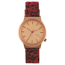 Buy Komono KOM-W1812 Unisex Wizard Print Leather Strap Watch, Red/Rose Gold Online at johnlewis.com