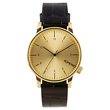 Buy Komono KOM-W2550 Men's Winston Monte Carlo Strap Watch, Black/Gold Online at johnlewis.com