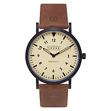 Buy Shore Projects W011S016 Unisex Barra Leather Strap Watch, Tan Online at johnlewis.com