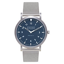 Buy Shore Projects W010S019 Unisex Newquay Mesh Bracelet Strap Watch, Silver/Navy Online at johnlewis.com