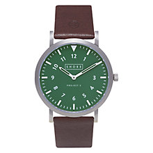 Buy Shore Projects W012S015 Unisex Anglesey Leather Strap Watch, Dark Brown/Green Online at johnlewis.com
