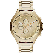 Buy Armani Exchange AX1752 Men's Stainless Steel Aeroracer Bracelet Strap Watch, Gold Online at johnlewis.com