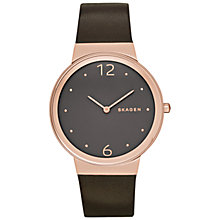 Buy Skagen SKW2368 Women's Freja Leather Strap Watch, Brown/Rose Gold Online at johnlewis.com