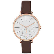 Buy Skagen SKW2356 Women's Hogen Leather Strap Watch, Brown/Rose Gold Online at johnlewis.com