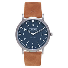 Buy Shore Projects W010SO17 Unisex Newquay Leather Strap Watch, Tan/Navy Online at johnlewis.com
