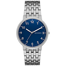 Buy Skagen SKW6201 Men's Ancher Bracelet Strap Watch, Silver/Blue Online at johnlewis.com
