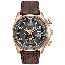 Buy Citizen AT9013-11E Men's Leather Strap Watch, Brown/Black Online at johnlewis.com