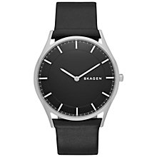 Buy Skagen SKW6220 Men's Holst Leather Strap Watch, Black Online at johnlewis.com