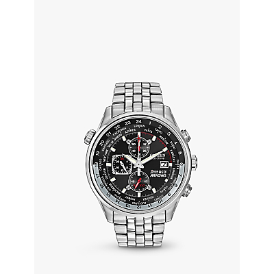 Citizen CA0080-54E Men's Red Arrows Chronograph Mesh Bracelet Watch, Silver/Black