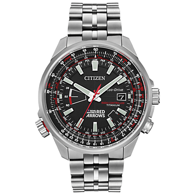 Citizen CB0149-53E Men's Red Arrows Titanium Bracelet Strap Watch, Silver/Black