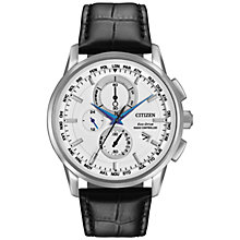Buy Citizen AT8110-02A Men's World Chronograph Leather Strap Watch, Black/White Online at johnlewis.com