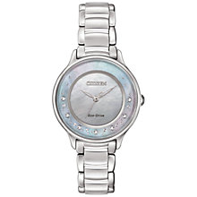 Buy Citizen EM0380-81N Women's Circle Of Time Stainless Steel Bracelet Strap Watch, Silver/Multi Online at johnlewis.com