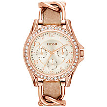 Buy Fossil ES3466 Women's Stainless Steel Riley Leather Strap Watch, Sand/White Online at johnlewis.com