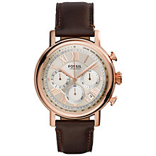 Buy Fossil Men's Stainless Steel Buchanan Leather Strap Watch Online at johnlewis.com