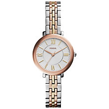 Buy Fossil ES3847 Women's Stainless Steel Jacqueline Rose Gold Silver Bracelet Watch, Rose Gold Online at johnlewis.com
