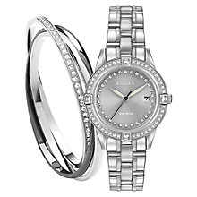 Buy Citizen FE1150-58H Women's Silhouette Crystal Bracelet Strap Watch, Silver Online at johnlewis.com