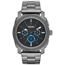 Buy Fossil FS4931 Men's Stainless Steel Machine Grey Bracelet Strap Watch, Smoke Online at johnlewis.com