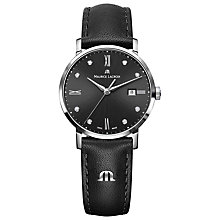 Buy Maurice Lacroix EL1094-SS001-310-1 Women's Eliros Diamond Set Leather Strap Watch, Black Online at johnlewis.com