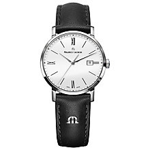 Buy Maurice Lacroix EL1084-SS001-111 Women's Eliros Leather Strap Watch, Black/White Online at johnlewis.com