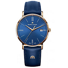 Buy Maurice Lacroix EL1087-PVP01-410 Women's Eliros Leather Strap Watch, Blue Online at johnlewis.com
