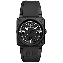 Buy Bell & Ross BR0392-BL-CE Men's Rubber Strap Watch, Black Online at johnlewis.com