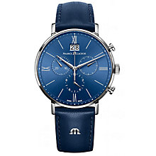 Buy Maurice Lacroix EL1088-SS001-410 Men's Eliros Chronograph Leather Strap Watch, Blue Online at johnlewis.com