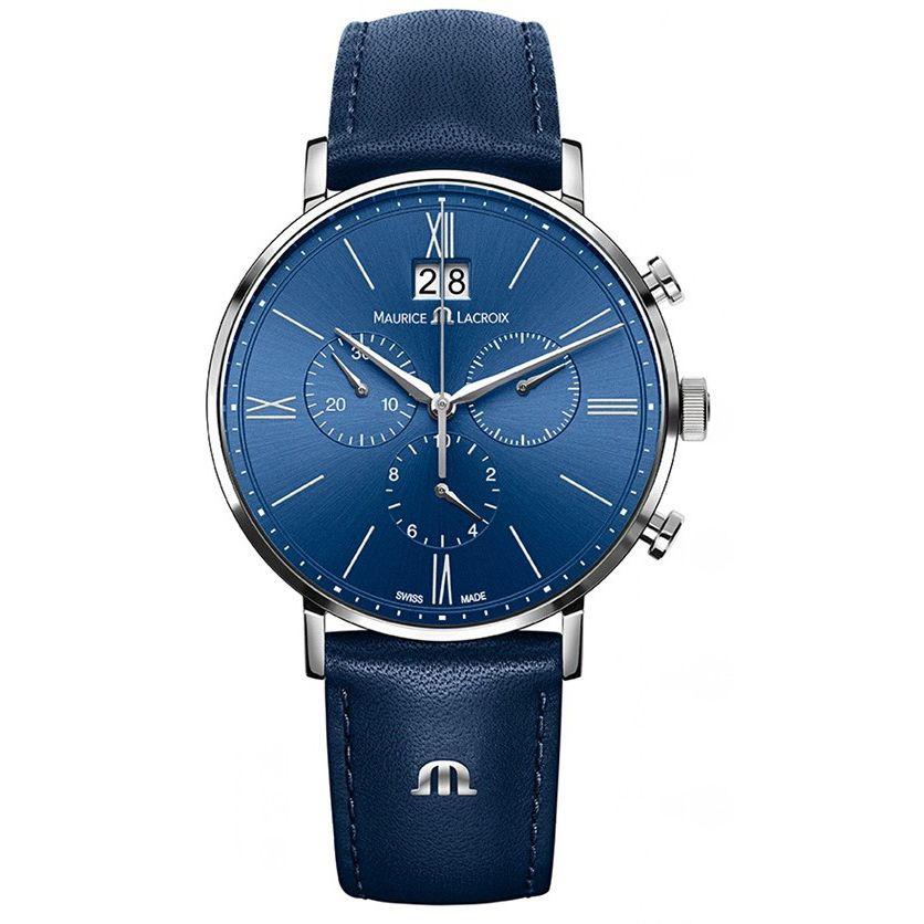 Maurice Lacroix Maurice Lacroix EL1098-SS001-410-1 Men's Eliros Chronograph Leather Strap Watch, Blue