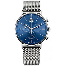 Buy Maurice Lacroix EL1088-SS002-410 Men's Eliros Chronograph Stainless Steel Mesh Bracelet Strap Watch, Silver/Blue Online at johnlewis.com