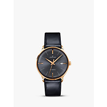 Buy Junghans 027/7513.00 Men's Meister Classic Leather Strap Watch, Black/Grey Online at johnlewis.com