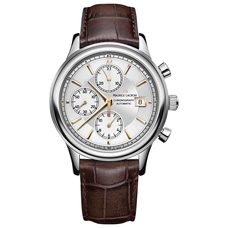 Maurice Lacroix Maurice Lacroix LC6158-SS001-130 Men's Les Classiques Chronograph Leather Strap Watch, Brown/White