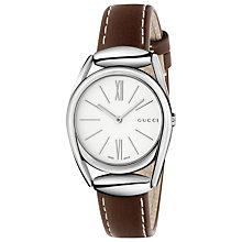 Buy Gucci YA140502 Women's Horsebit Leather Strap Watch, Brown/White Online at johnlewis.com