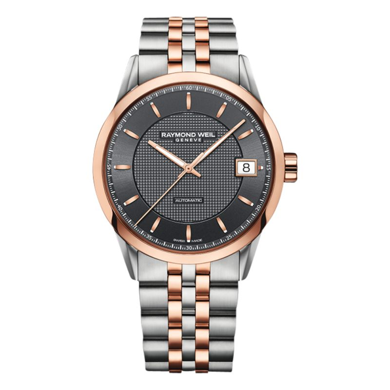 Raymond Weil Raymond Weil 2740-ST-20021 Men's Freelancer Two Tone Bracelet Strap Watch, Silver/Rose Gold