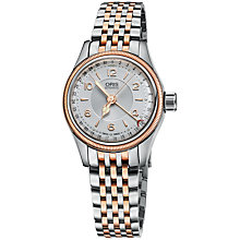 Buy Oris 01 594 7695 4361-07 8 14 32 Women's Stainless Steel Rose Gold Bracelet Strap Watch, Silver Online at johnlewis.com