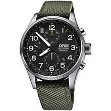 Buy Oris 0177476994134-0752214FC Men's Big Crown ProPilot Chronograph Stainless Steel Fabric Strap Watch, Green/Black Online at johnlewis.com