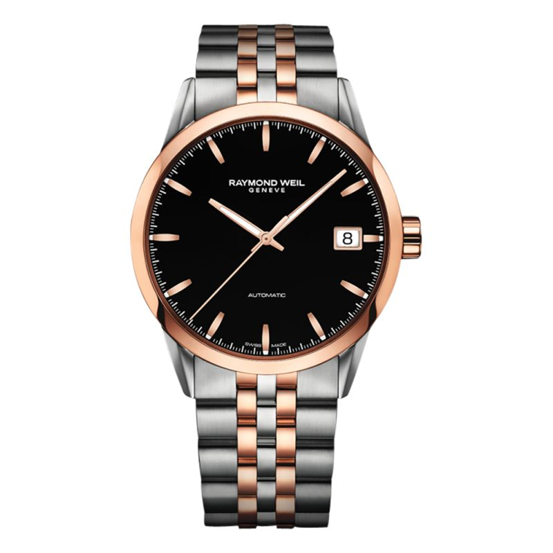 Raymond Weil Raymond Weil 2740-SP5-20011 Men's Freelancer Date Two Tone Bracelet Strap Watch, Silver/Rose Gold