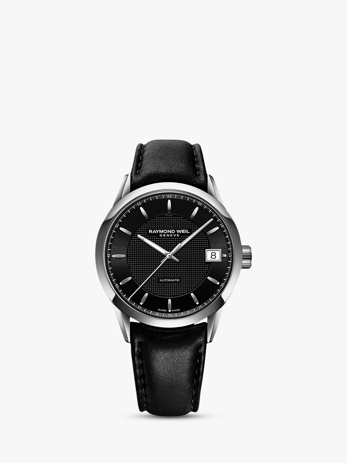 Raymond Weil Raymond Weil 2740-STC-20021 Men's Freelancer Leather Strap Watch, Black