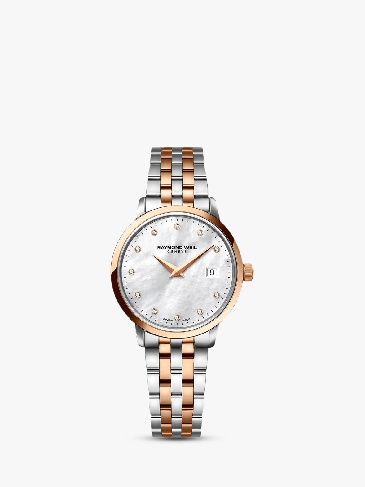 Raymond Weil Raymond Weil 5388-SP5-97081 Women's 11 Diamonds Mother Of Pearl Two Tone Bracelet Strap Watch, Rose Gold/Silver