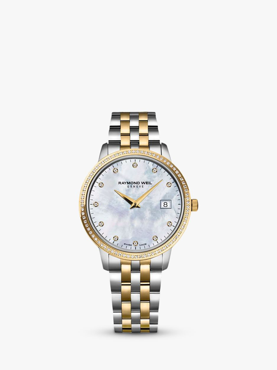 Raymond Weil Raymond Weil 5388-SPS-97081 Women's Toccata 91 Diamonds Two Tone Bracelet Strap Watch, Silver/Gold