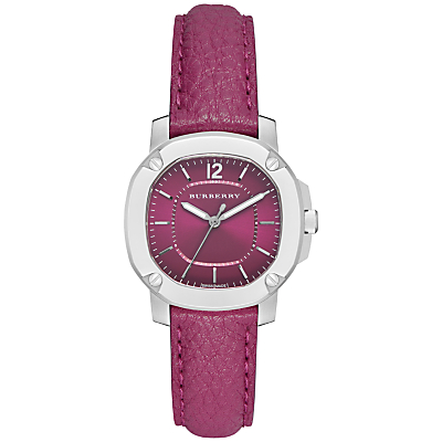 Burberry BBY1715 Women's The Britain Leather Strap Watch, Pink