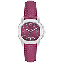 Buy Burberry BBY1715 Women's The Britain Leather Strap Watch, Pink Online at johnlewis.com