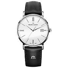 Buy Maurice Lacroix EL1087-SS001-111 Men's Eliros Leather Strap Watch, Black/White Online at johnlewis.com