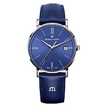 Buy Maurice Lacroix EL1087-SS001-410 Women's Leather Strap Watch, Blue Online at johnlewis.com